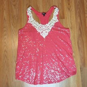 Express Coral Sequined Tank Size M